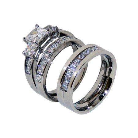 His Hers Couple 3 PCS 1 Ct Princess CZ Wedding Ring Set Mens 9 CZ Band- Size W5M8