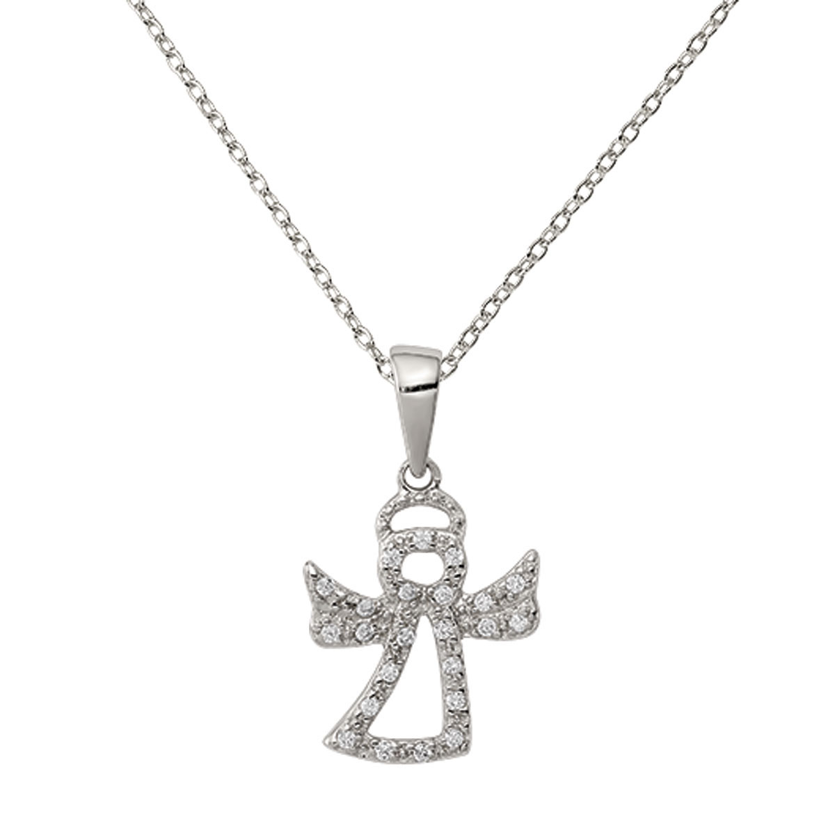 Sterling Silver CZ Angel Pendant with 18-inch Chain