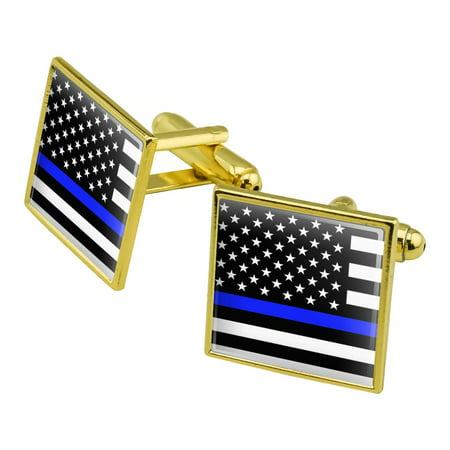 Thin Blue Line American Flag Square Cufflink Set Gold Color ()