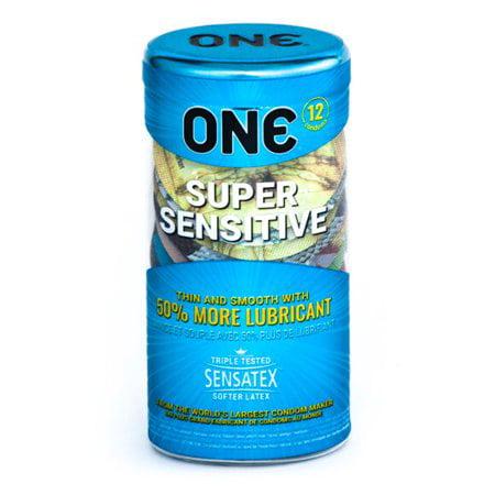 ONE Super Sensitive + Silver Pocket Case, Premium Lubricated Ultra Thin Latex Condoms-12 Count (Retail)