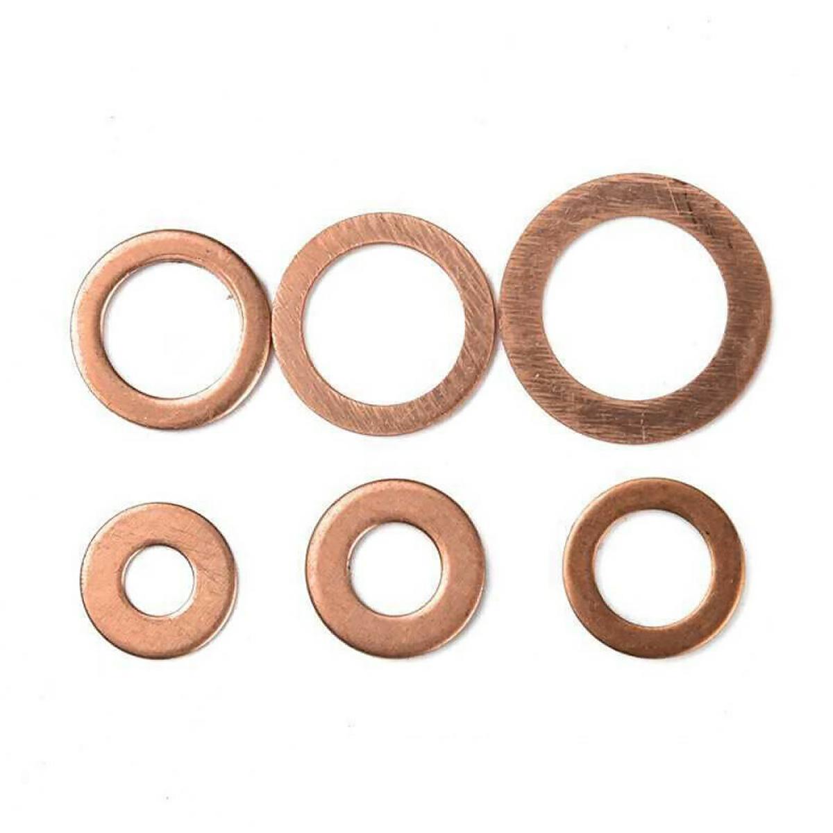 150Pcs M6-M20 Copper Crush Washers Gasket Set Flat Ring Seal Assortment W// Case