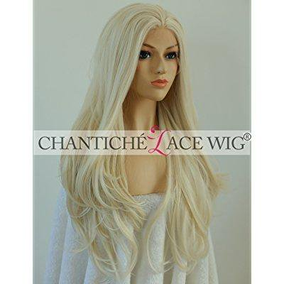Chantiche Glueless Golden Blonde Natural Wavy Synthetic Wigs For Christmas Day Beautiful Womens Half Hand Tied Big Wave Lace Front Wig Free Cap Heat Resistant 22 Inches