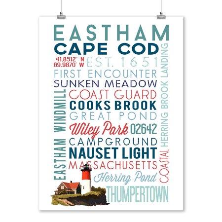 Eastham, Massachusetts - Cape Cod - Typography - Lantern Press Artwork (9x12 Art Print, Wall Decor Travel Poster)