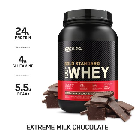 Optimum Nutrition Gold Standard 100% Whey Protein Powder, Extreme Milk Chocolate, 24g Protein, 2 Lb Extreme Smoothie Chocolate
