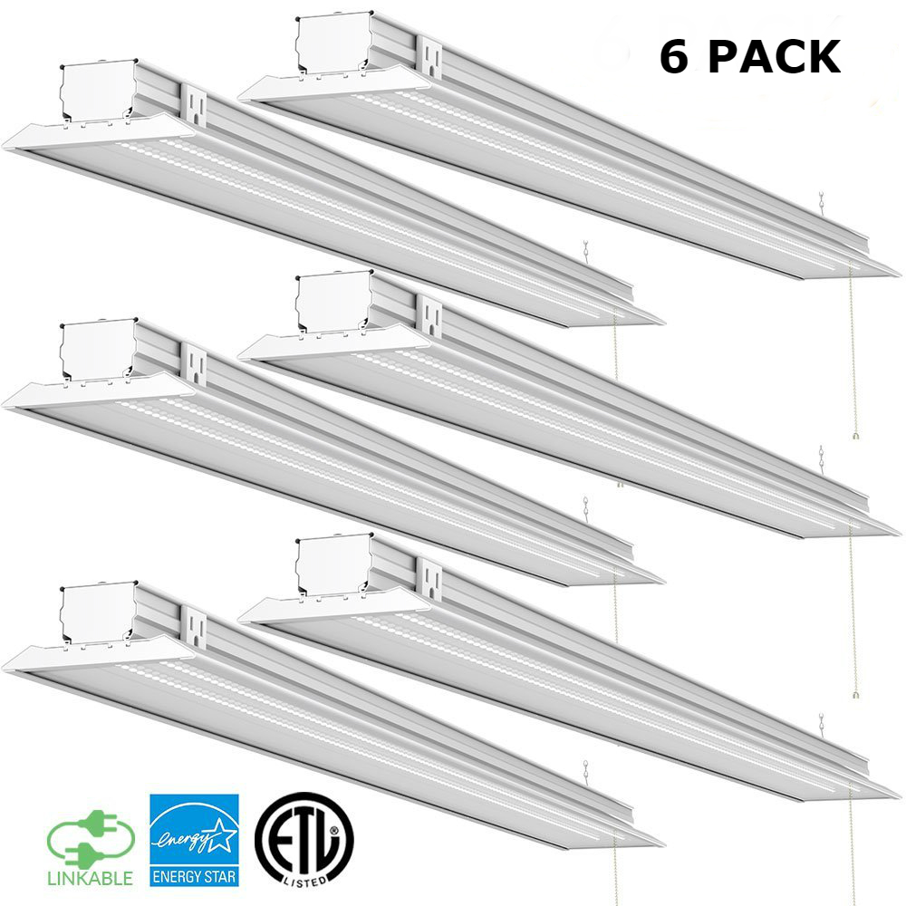 Sunco Lighting 6 Pack 4ft 48 Inch LED Flat Utility Shop