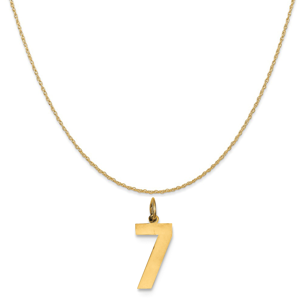 """14k Yellow Gold Medium Polished Number 7 Charm on a 14K Yellow Gold Rope Chain Necklace, 20"""""""