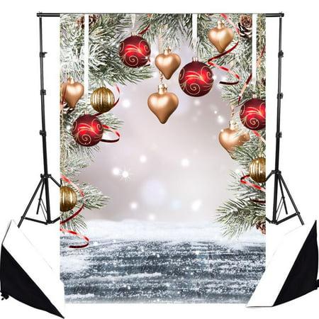 HelloDecor Polyster 5x7ft Christmas Trees Fir Branch Photo Backdrop Photography Background Christmas Balls Snowflakes Snow Wood Floor Theme Studio Background Children Kids Portraits Photo Studio Props - Snowflake Backdrop