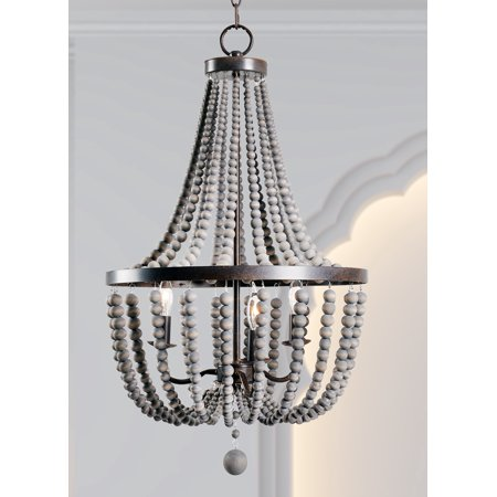 Dumas 3 light wood bead chandelier walmart dumas 3 light wood bead chandelier aloadofball Image collections