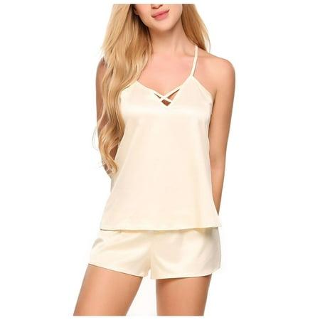 Cami Gown (Women Cross Strap V-neck Camis and Shorts Pajamas Sets Satin Loose Nightwear RllYE )