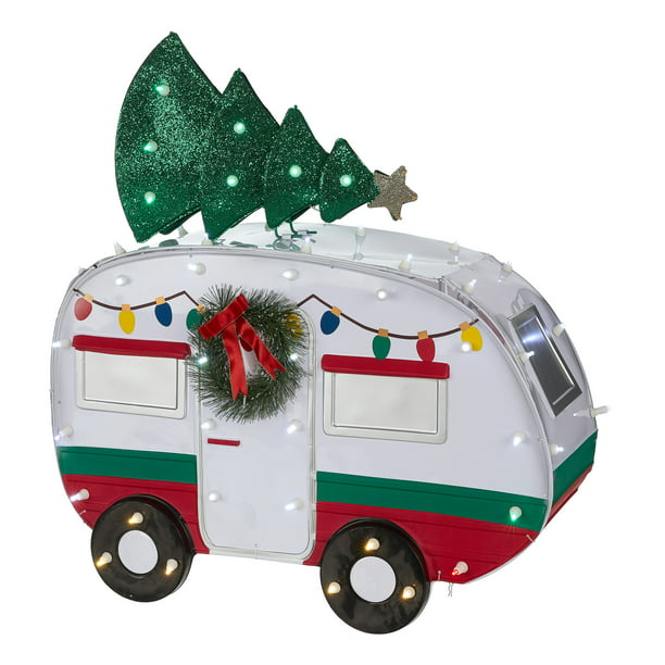 Holiday Time Light-up LED Outdoor Camper with Christmas Tree Decoration, 12""