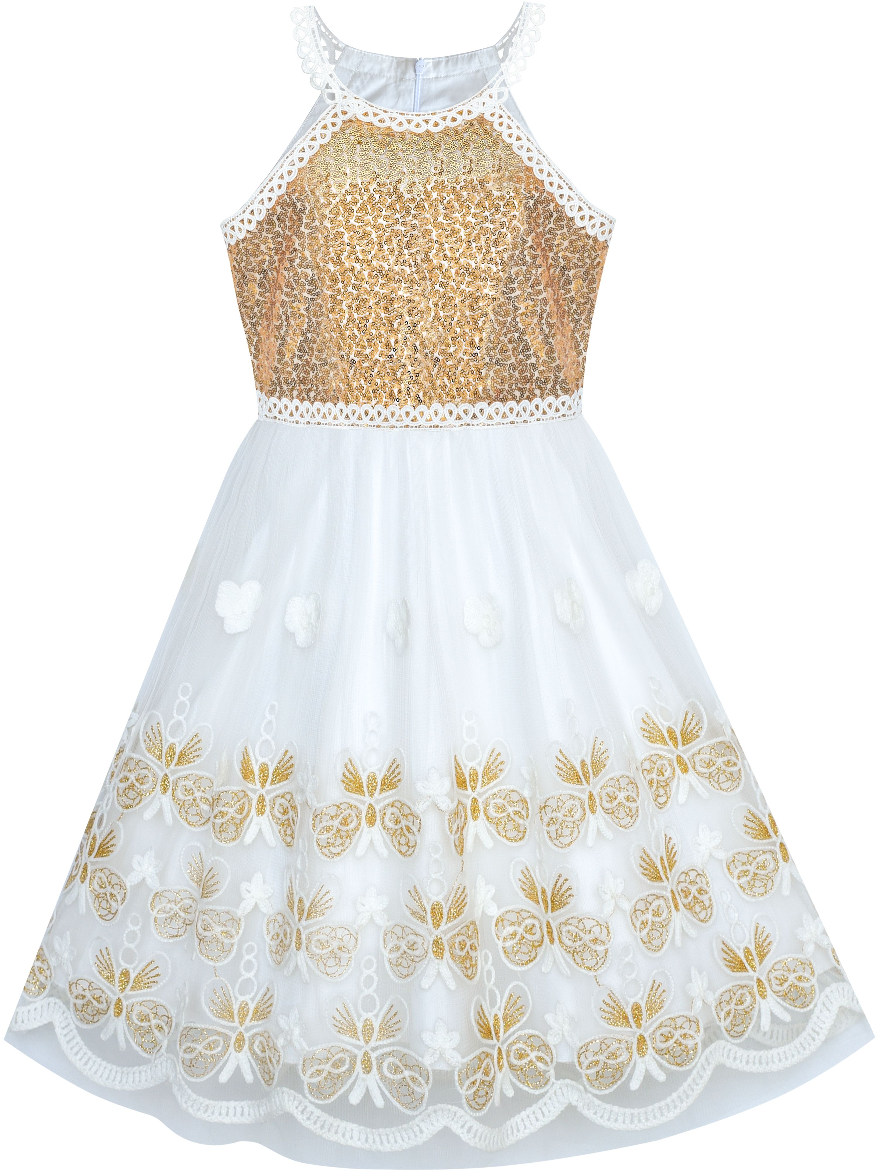 Girls Dress Gold Butterfly Embroidered Halter Dress Party 12 Years