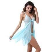 85ff4c918 Chemise Lingerie Sexy Nightie Full Slips Lace Babydoll Sleepwear with G  String Green Small Image 2