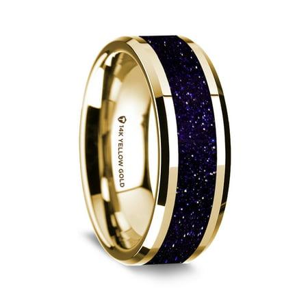 14K Yellow Gold Polished Beveled Edges Wedding Ring With Purple Goldstone Inlay