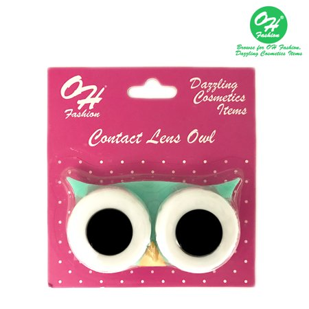 OH Fashion Contact Lens Case Owl style, Green travel case, 1 - Halloween Contact Lenses Prescription-only