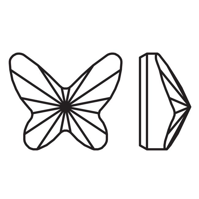 Swarovski Crystal, #2854 Butterfly Flatback Rhinestone 8mm, 4 Pieces, Rose Peach F