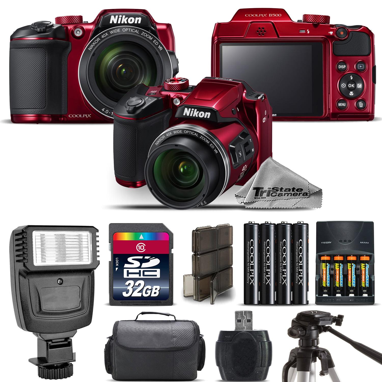 Nikon COOLPIX B500 RED Camera 40x Optical Zoom + Flash + Case - 32GB Kit Bundle