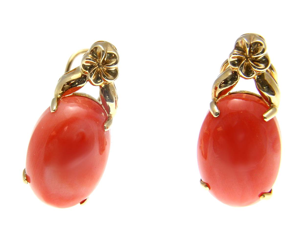 Geniune natural pink coral earrings hawaiian plumeria 14k gold omega french clip by
