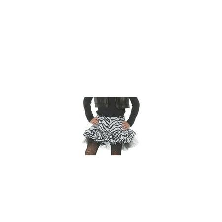80S Zebra Girls Child White Diva Dance Rocker Costume Skirt