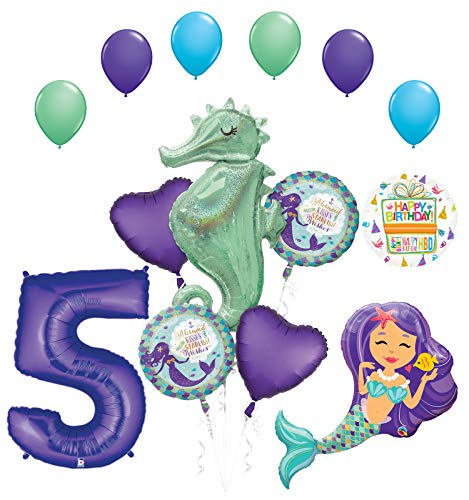 Mermaid Wishes and Seahorse 5th Birthday Party Supplies Balloon Bouquet Decorations - Latex Mermaid