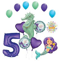 Mermaid Wishes and Seahorse 5th Birthday Party Supplies Balloon Bouquet Decorations