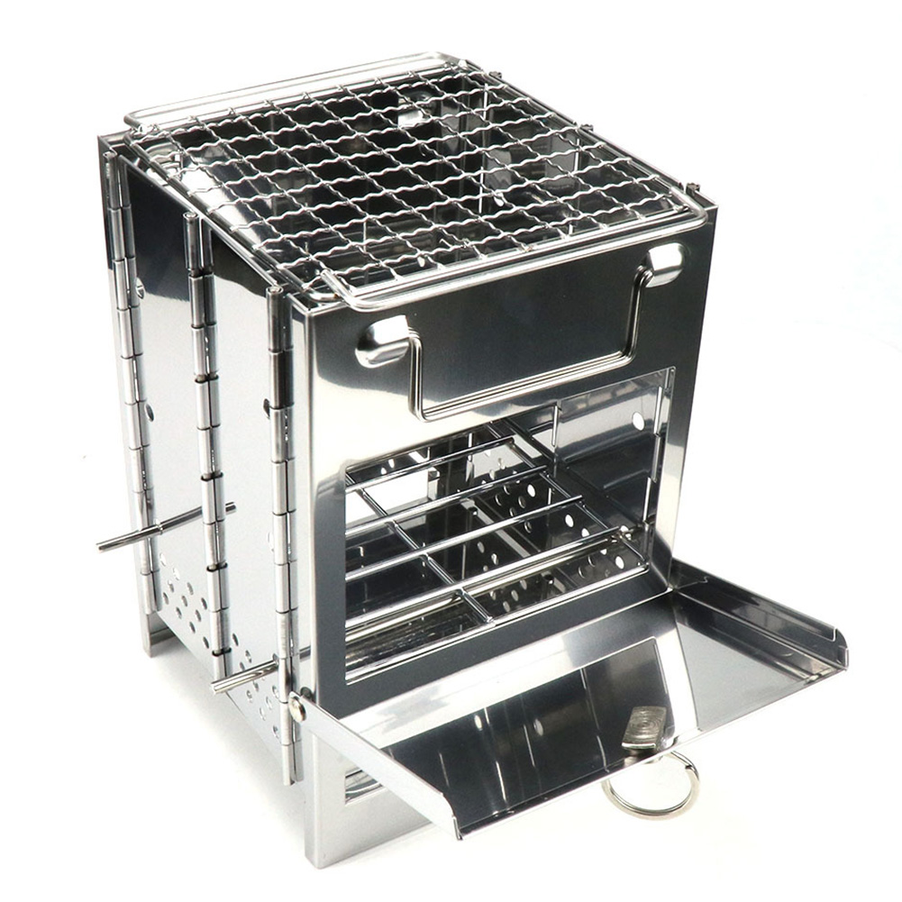 Details about  / Camping Stove Camp Wood Stove Portable Foldable Stainless Steel Burning