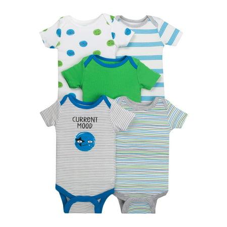 Newborn Baby Boy Assorted Short Sleeve Bodysuit, 5-pack ()