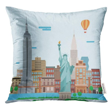 BSDHOME Skyline of New York City Landscape Buildings and The Statue Liberty Cartoon Pillow Case 18x18 Inches Pillowcase - image 1 of 1