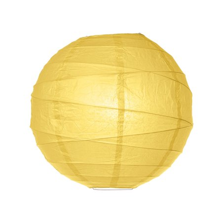 Paper Lantern (14-Inch, Free-Style Ribbed, Yellow) - Rice Paper Chinese/Japanese Hanging Decoration - For Home Decor, Parties, and Weddings