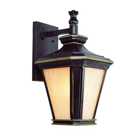 Bel Air Lighting Hampton 1-Light Brown and Gold Outdoor Wall Mount Lantern