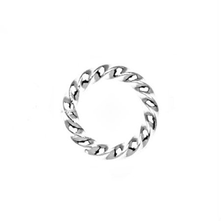 Silver 8mm Origami - Silver Plated Twisted Open Jump Rings 8mm 16 Gauge (50)