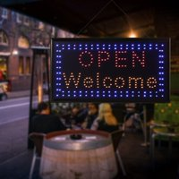 WALFRONT 1pc Large Bright LED Shop Sign Board Neon Light Window Door Hang Sign OPEN WELCOME, Neon Sign, Led Bar Sign