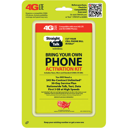 Straight Talk Bring Your Own Phone CDMA Activation Kit (4G LTE)