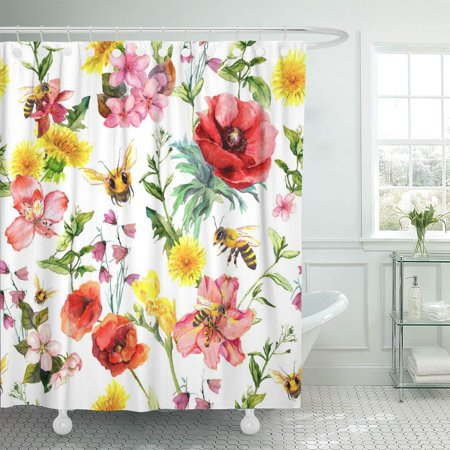 KSADK Pink Blossom Honey Bees Meadow Flowers Summer Pattern Watercolor Red Color Water Botanical Bathroom Shower Curtain 60x72 inch ()