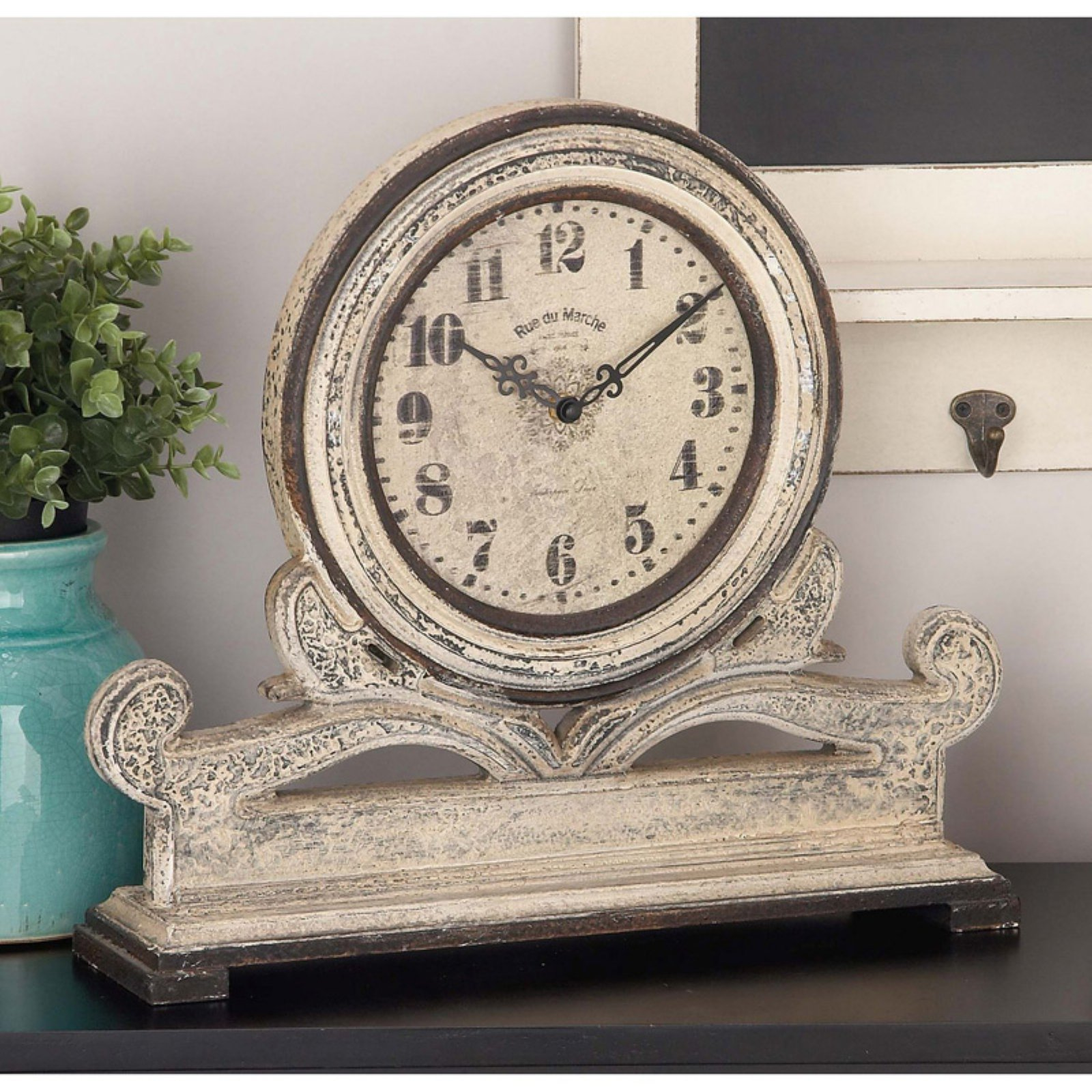 Classic And Traditional Wood Table Round Face Clock by Benzara