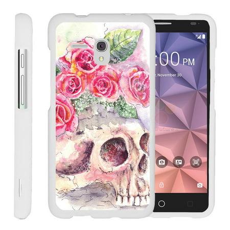 Alcatel One Touch Fierce Xl 5054N   Snap Shell  White  Hard White Plastic Case With Non Slip Matte Coating With Custom Designs   Flower Skull