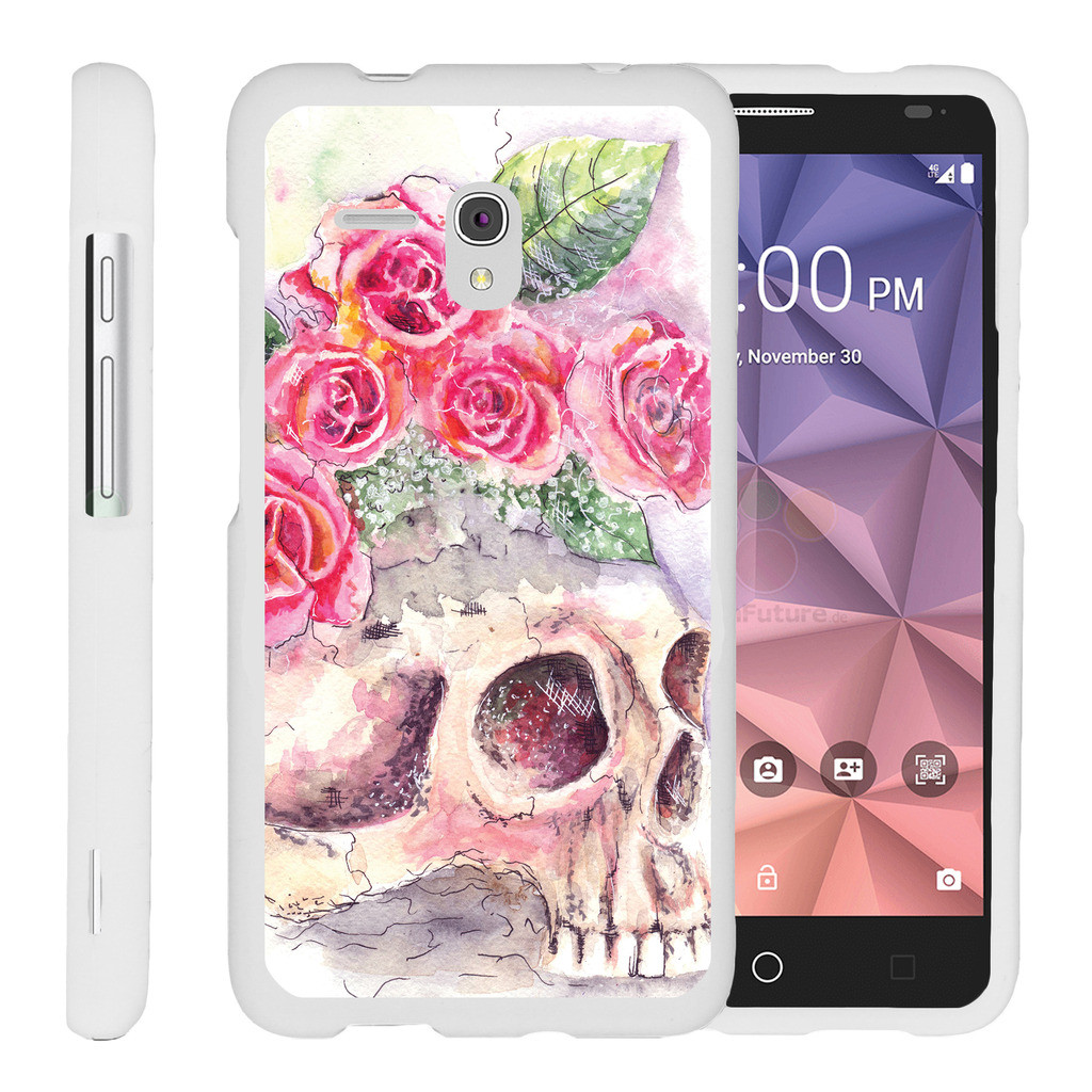 Alcatel One Touch Fierce XL 5054N, [SNAP SHELL][White] Hard White Plastic Case with Non Slip Matte Coating with Custom Designs - Flower Skull