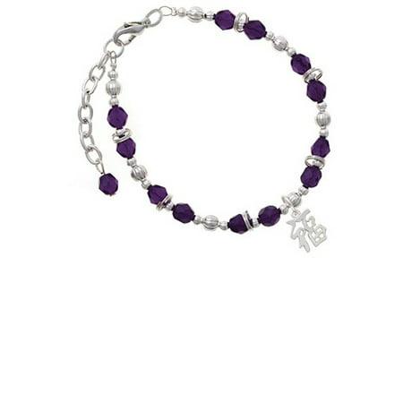 Silvertone Chinese Symbol ''Good Luck'' Purple Beaded Bracelet