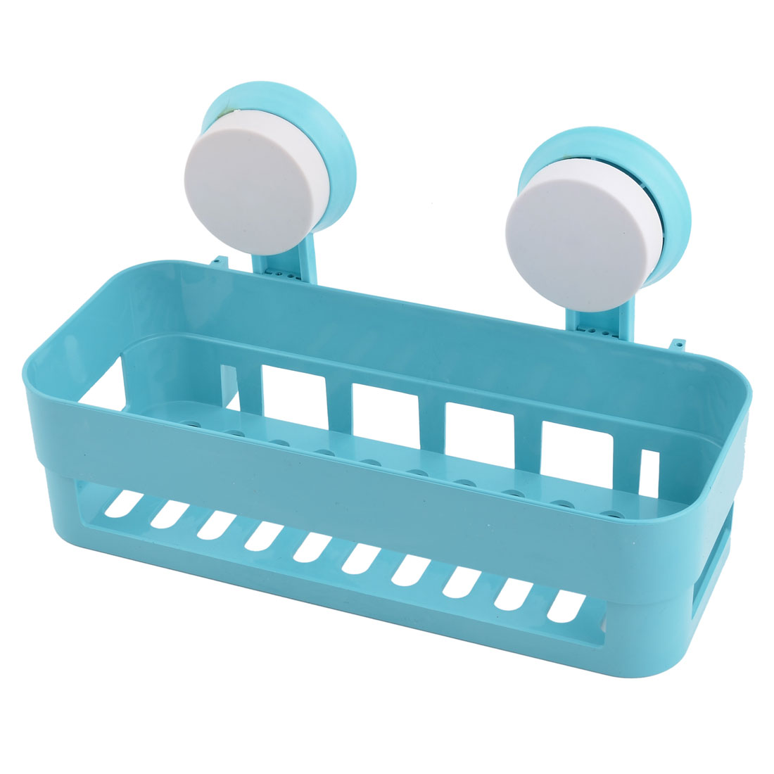 Uxcell Bathroom Plastic Wall Hanging Soap Brush Storage Suction Cup Shelf Holder Blue
