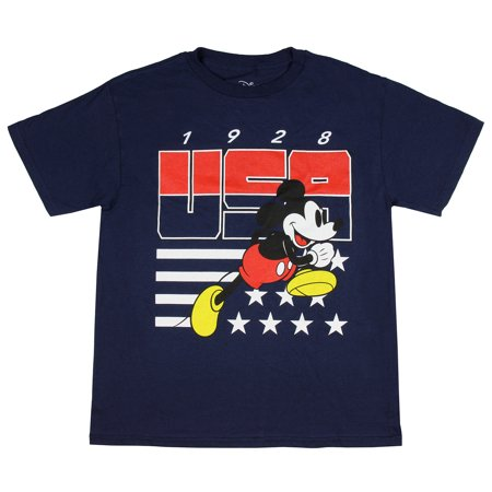 Disney Mickey Mouse Shirt Boys' Race To The Finish 1928 USA Stars And Stripes Logo Youth Tee - Star Wars Mickey Mouse
