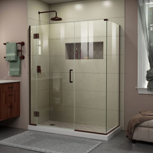 "DreamLine E1281434 Unidoor-X 72"" High x 48"" Wide x 34-3/8"" Deep Hinged Frameless"