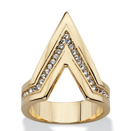 - Pave Crystal Chevron Cocktail Ring MADE WITH SWAROVSKI ELEMENTS 14k Gold-Plated