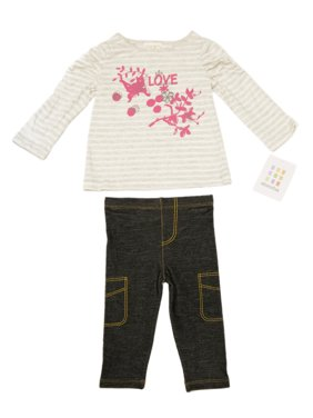 ABSORBA Toddler Girl's Striped Top / Jeggings 2-Pc Outfit 12M 18M 24M AUIG5662