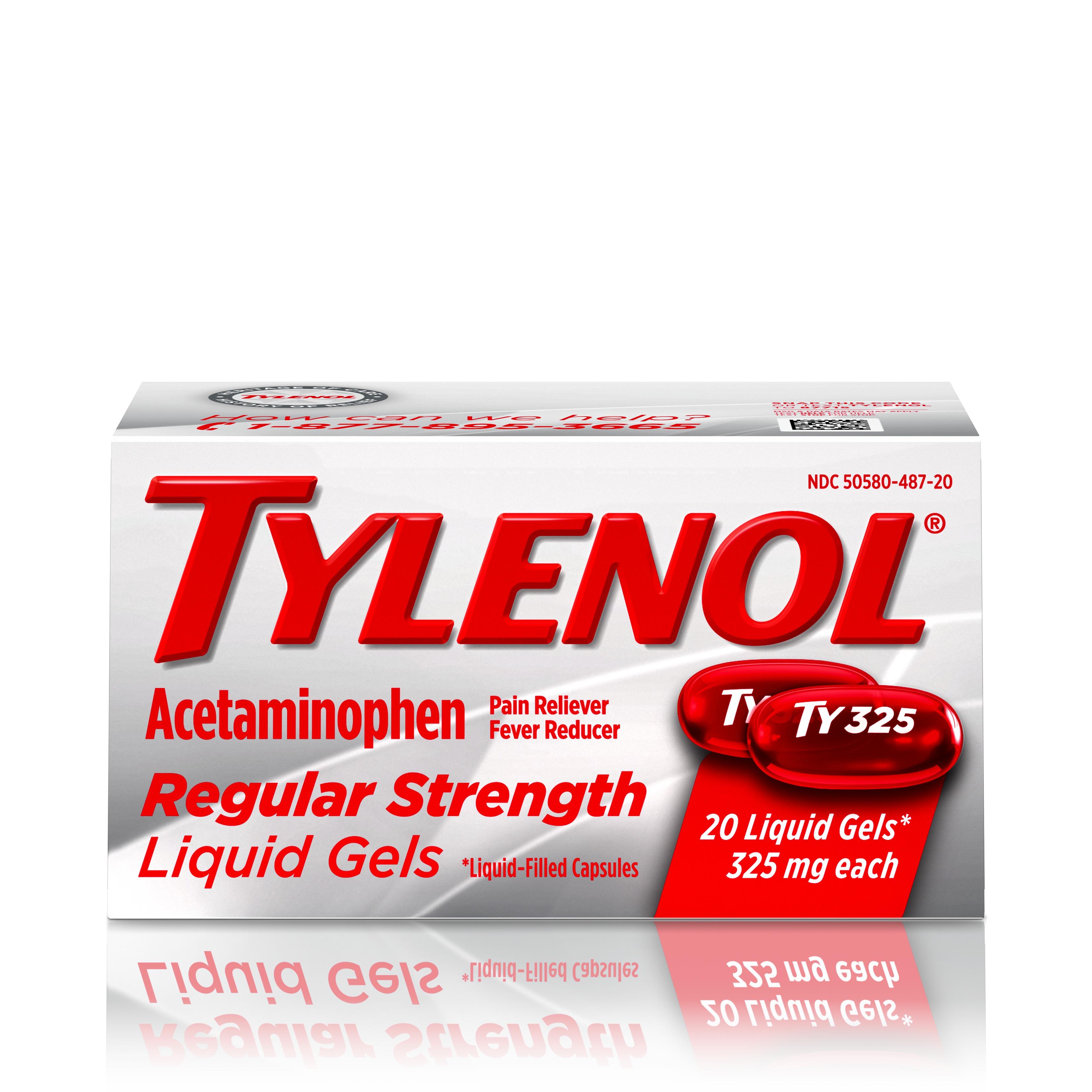 Tylenol Regular Strength Liquid Gels with 325 mg Acetaminophen, 20 ct