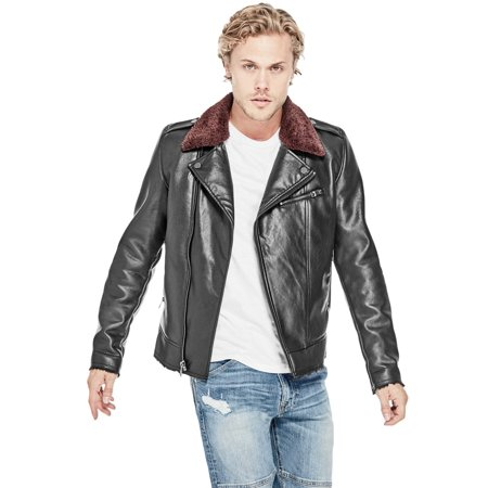 GUESS Mens Faux Leather Motorcycle Jacket jetblack (Guess Mens Faux Leather Detachable Hood Motorcycle Jacket)