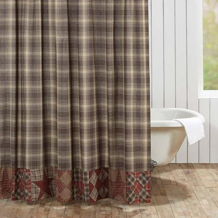 Woodland Brown Rustic Lodge Bath Brickston Rod Pocket Cotton Button Holes For Shower Hooks Patchwork Star Curtain