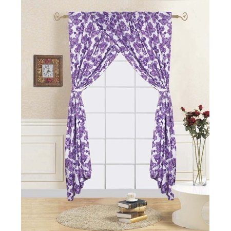 4-PC BUTTERFLY PURPLE Kids Bedroom Window Panel Pair, Set of Two Rod Pocket Curtains 38