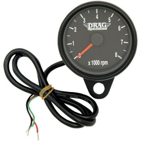 Drag Specialties Matte Black 2.4in. Mini Electronic 8000 RPM Tachometer Black   2211-0125