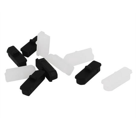 Unique Bargains 10 Pcs White Black Silicone Anti Dust Display Port Cover Cap Protector