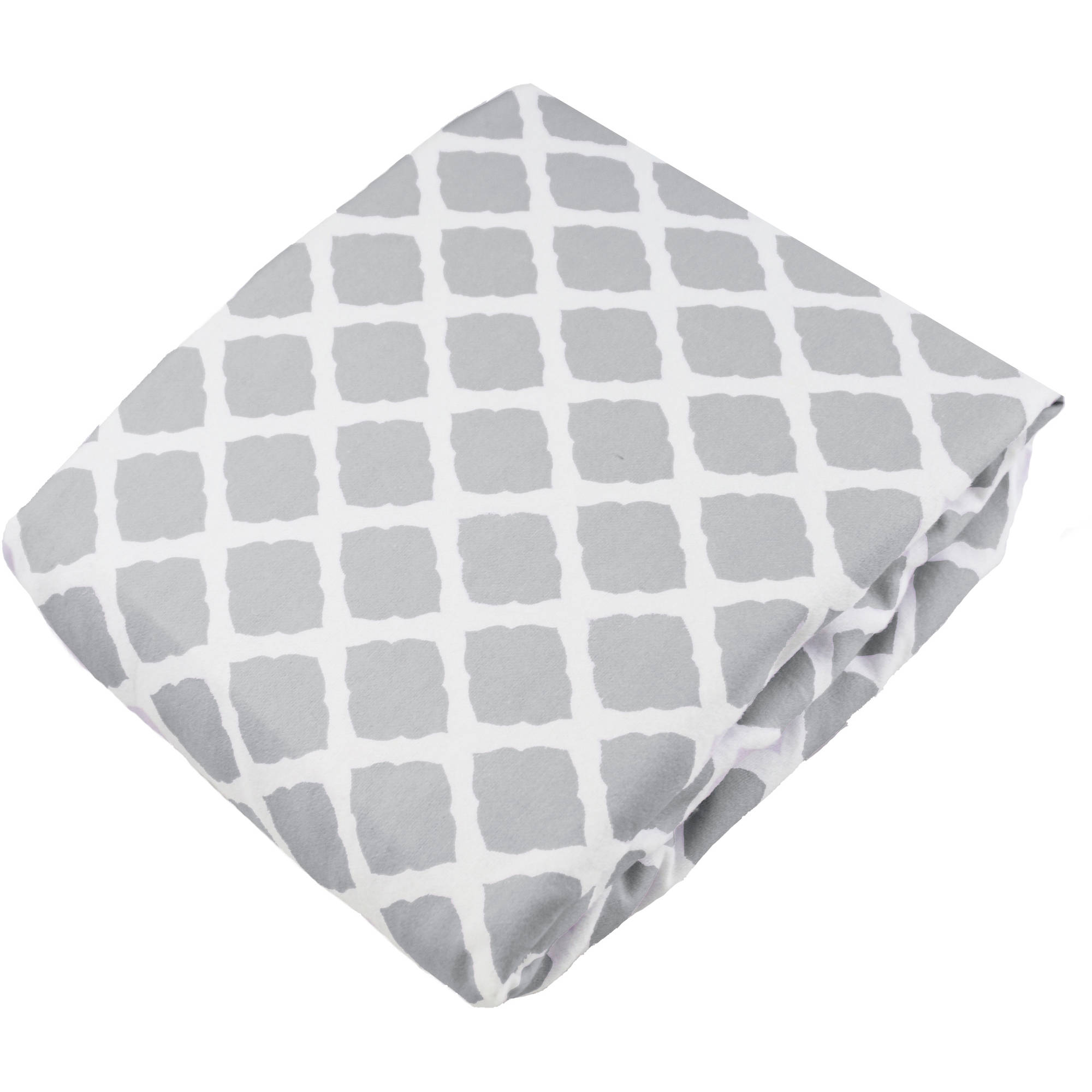 Kushies Fitted Crib Flannel Sheet, Lattice Grey