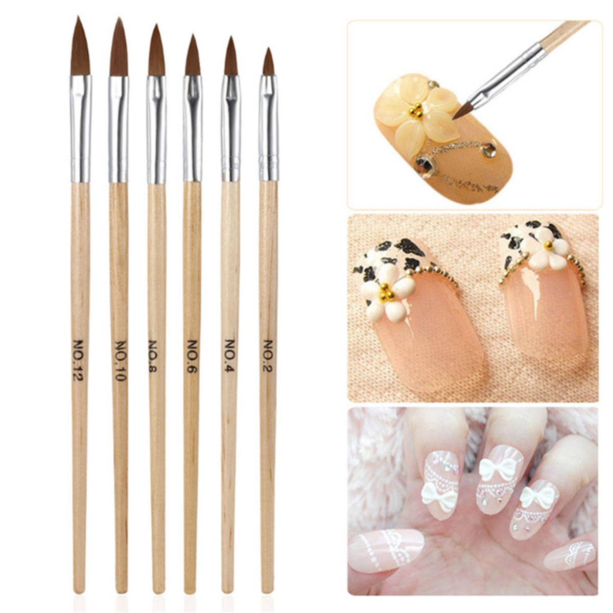 Professional Round Sable Acrylic Nail Art Brush Various Size 2 4 6 8 10 12 14
